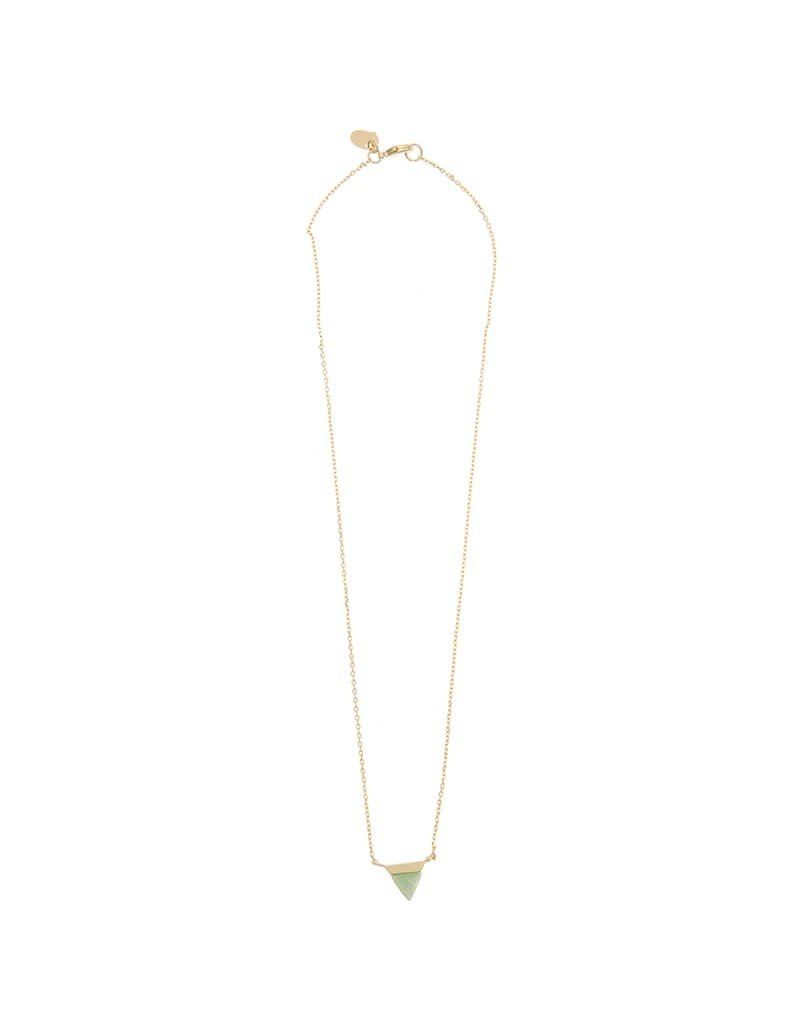 Timi necklace - triangle with stone (gold)