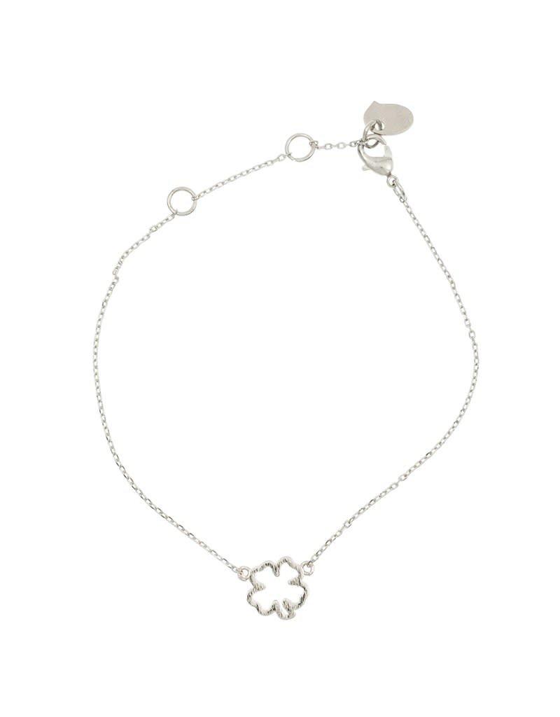 Timi armband - klavertje 4  (zilver)