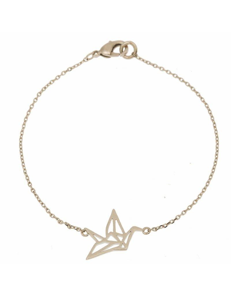 Timi armband - origami kraan (zilver)