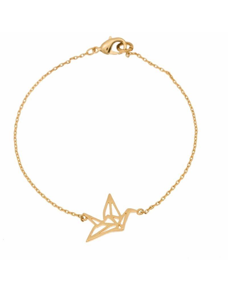 Timi bracelet - origami crane (gold)