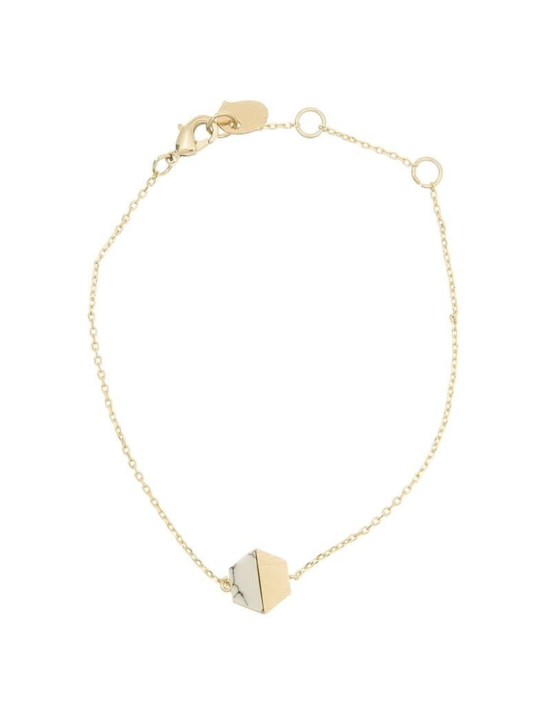 Timi armband - hexagon met steen (goud)