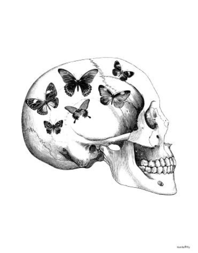 Vanilla Fly poster - skull with butterflies