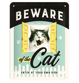 Nostalgic Art bord - beware of the cat (small)