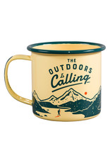 Wild & Wolf enamel mug - the outdoors is calling