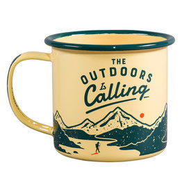 Wild & Wolf emaille beker - the outdoors is calling