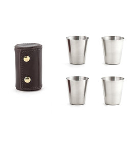 Kikkerland shot glasses - leather case