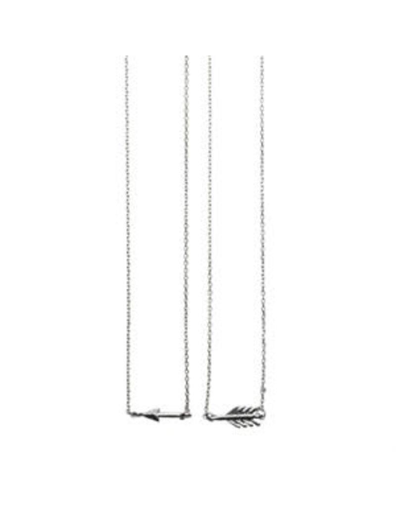 Timi kettingen - gebroken pijl (zilver)