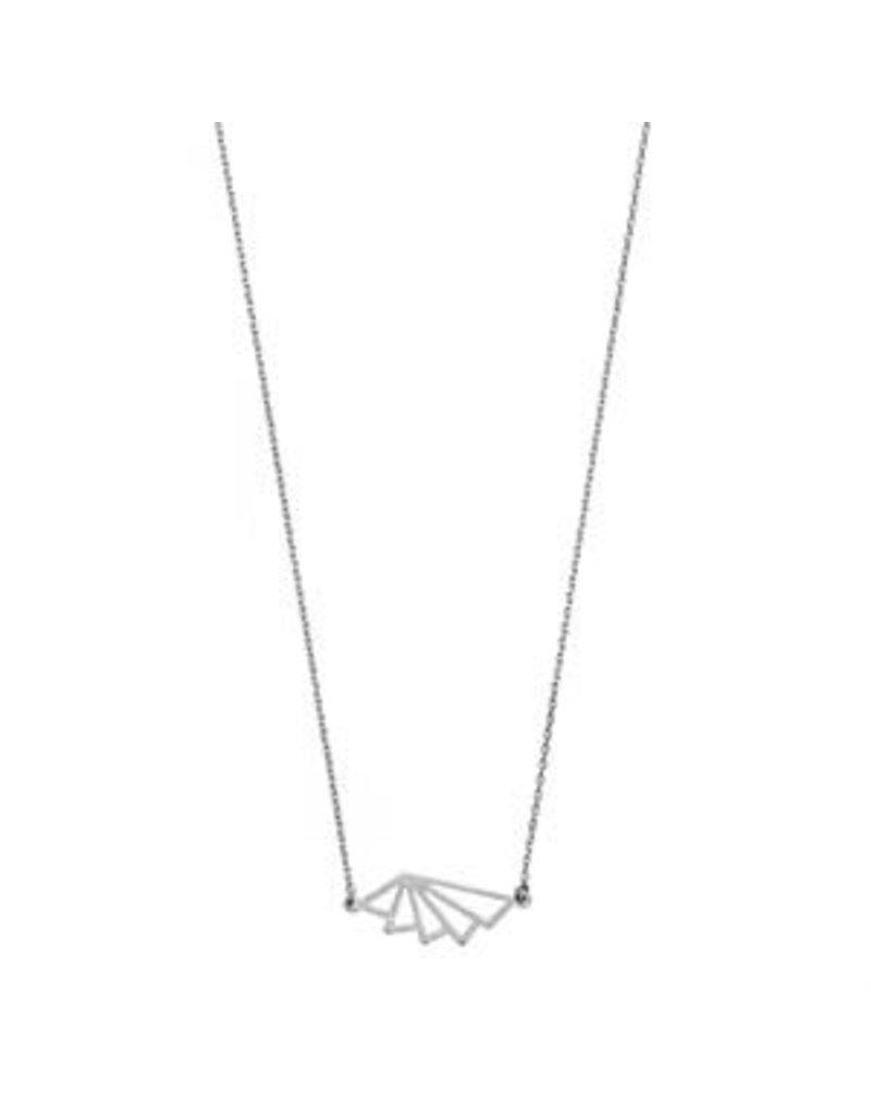 Timi ketting - geometric fan (zilver)
