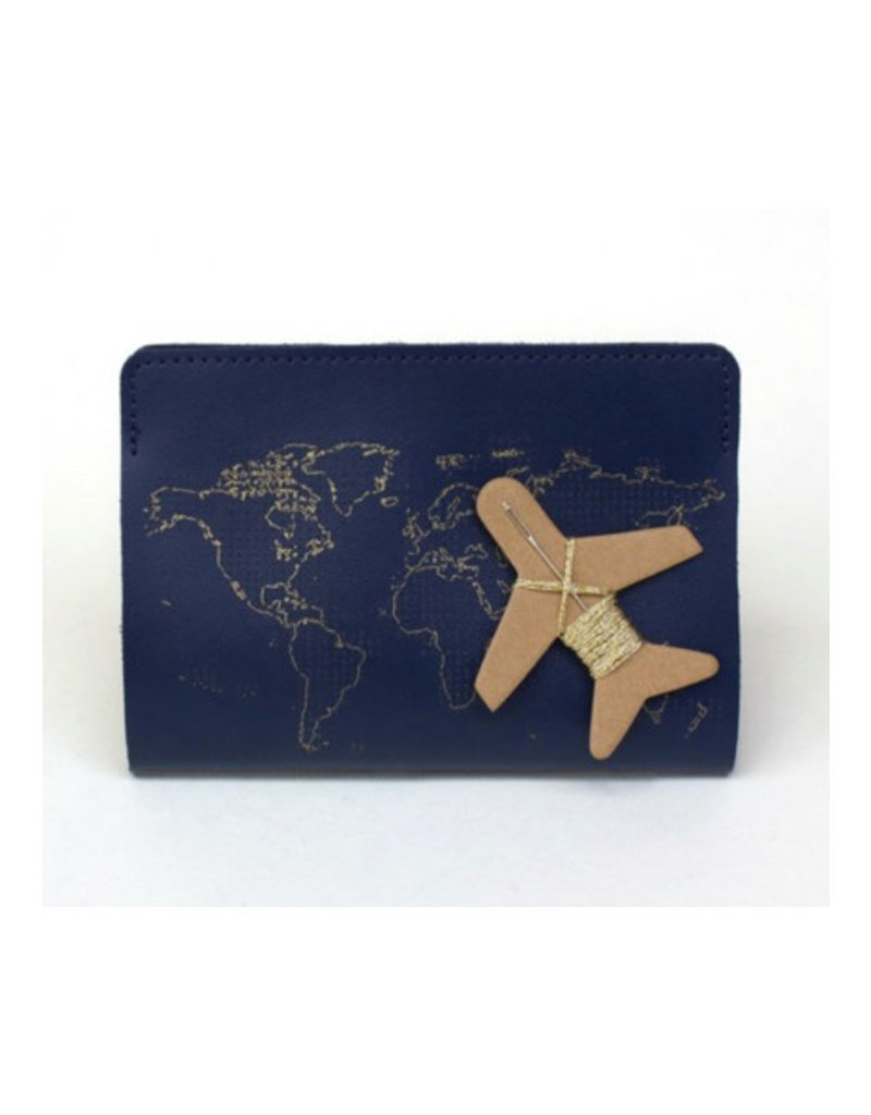 Chasing Threads passport cover - stitch (navy)