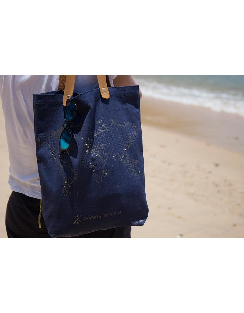 Chasing Threads tote bag - stitch (navy)