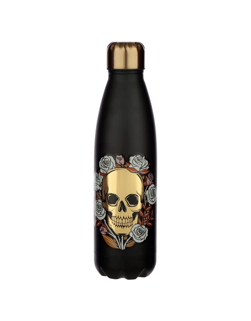Puckator drinking bottle - skull & roses