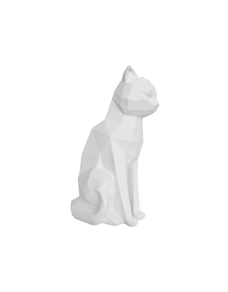 Present Time statue - origami -  sitting cat (white)