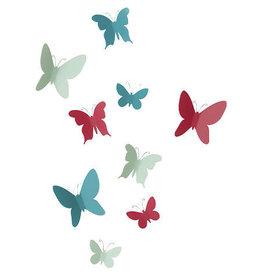 muur deco - vlinders (gekleurd)