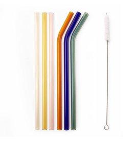 Kikkerland reusable straws - glass (colorful)
