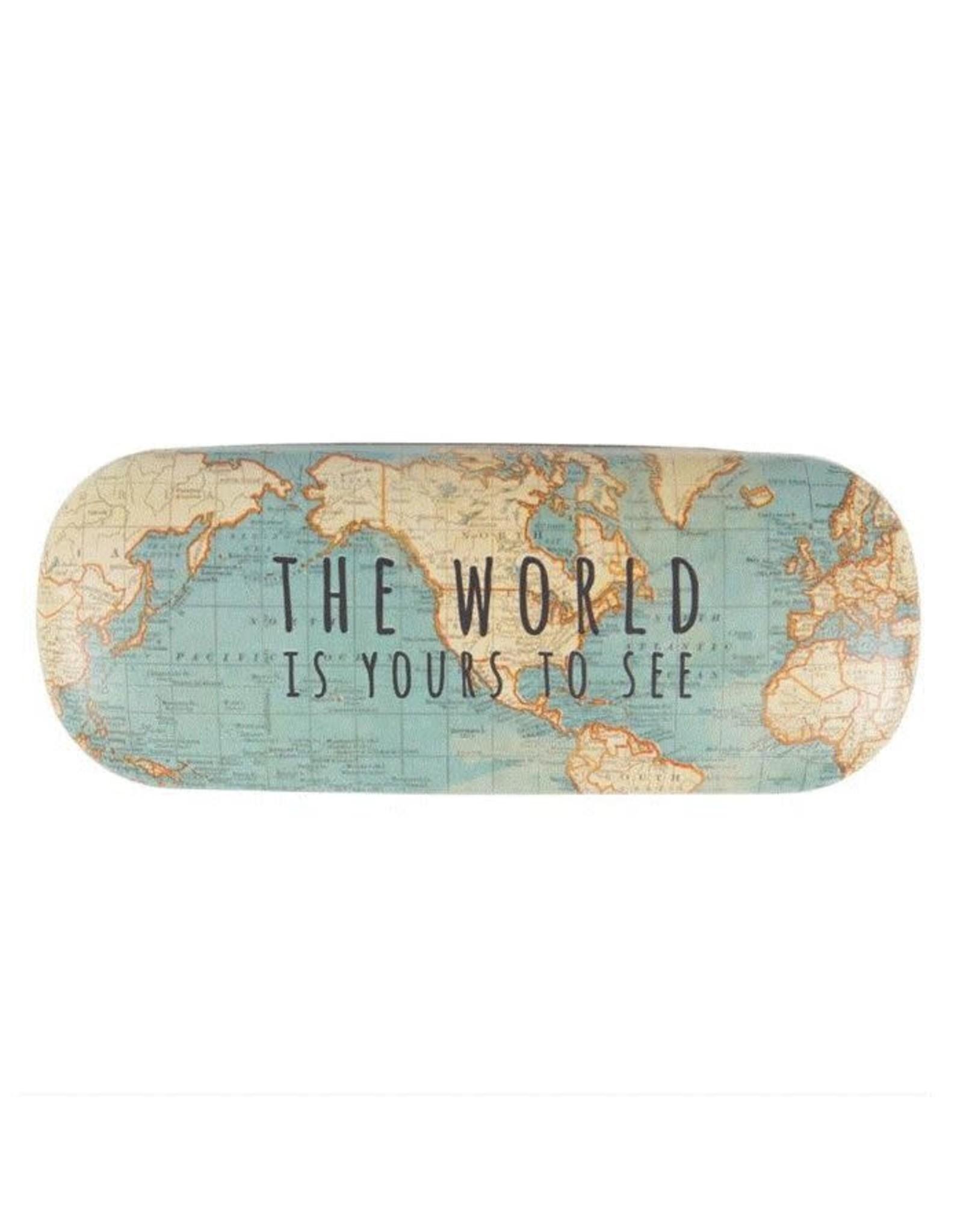 brillendoos - vintage wereldkaart
