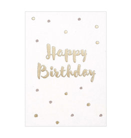 postcard - happy birthday gold confetti (pink)