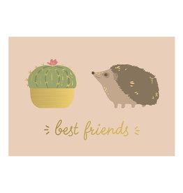 Timi postcard - best friends (hedgehog)