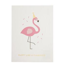 postkaart - party like a flamingo