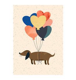 Timi postcard - dog & balloons