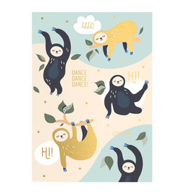 Timi postcard - dancing sloths