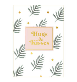postcard - hugs & kisses (leaves)