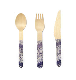 Kikkerland wooden cutlery - tribal