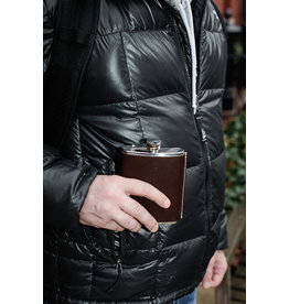 Kikkerland leather hip flask - 210 ml