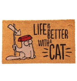cat doormat - life is better with a cat