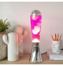 lava lamp - zilver basis/roze lava