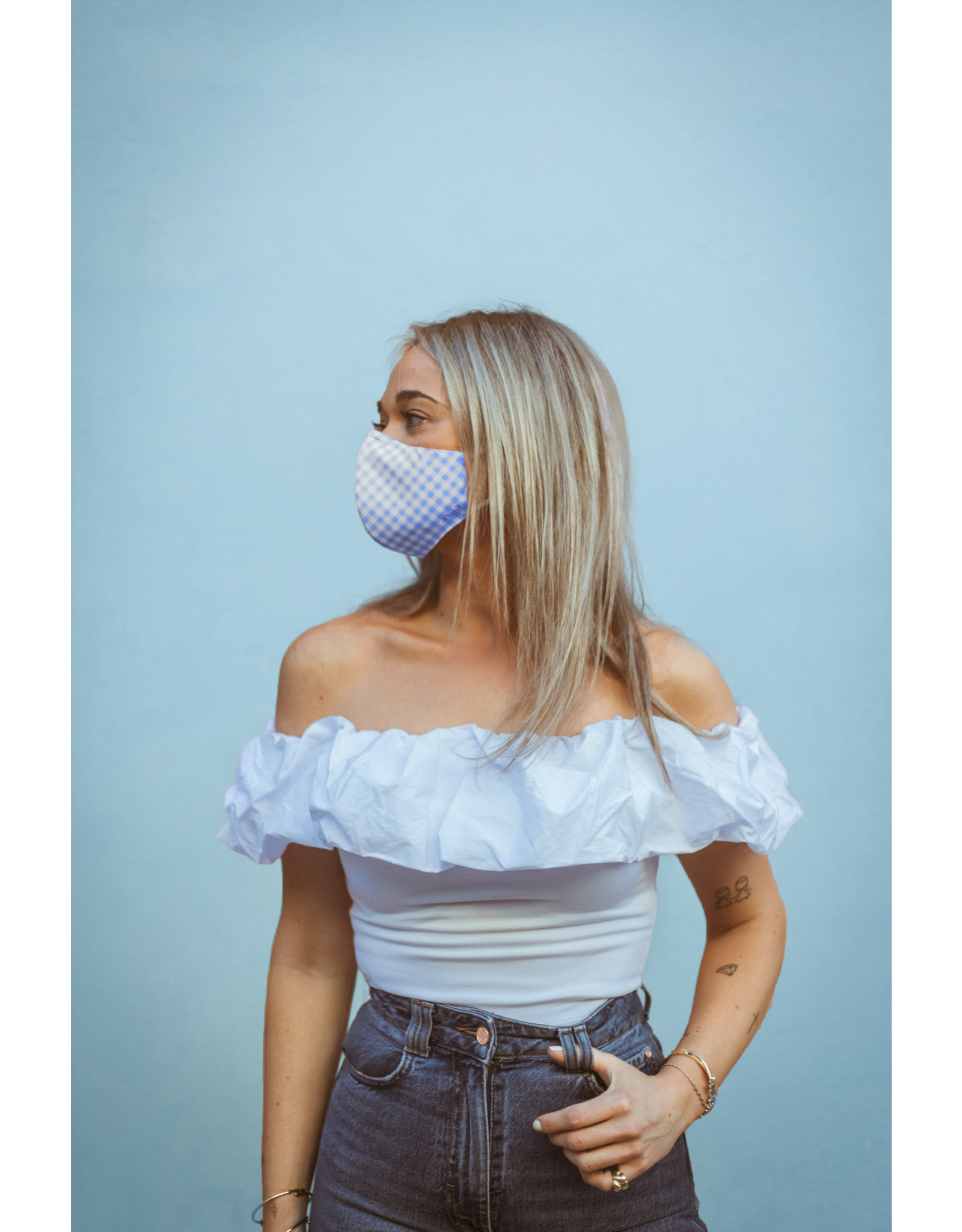 Fisura reusable face mask - vichy blue