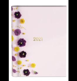 Lannoo agenda 2021 - spiraal - bloemen (roze)