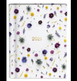 Lannoo agenda 2021 - spiraal - bloemen (wit)