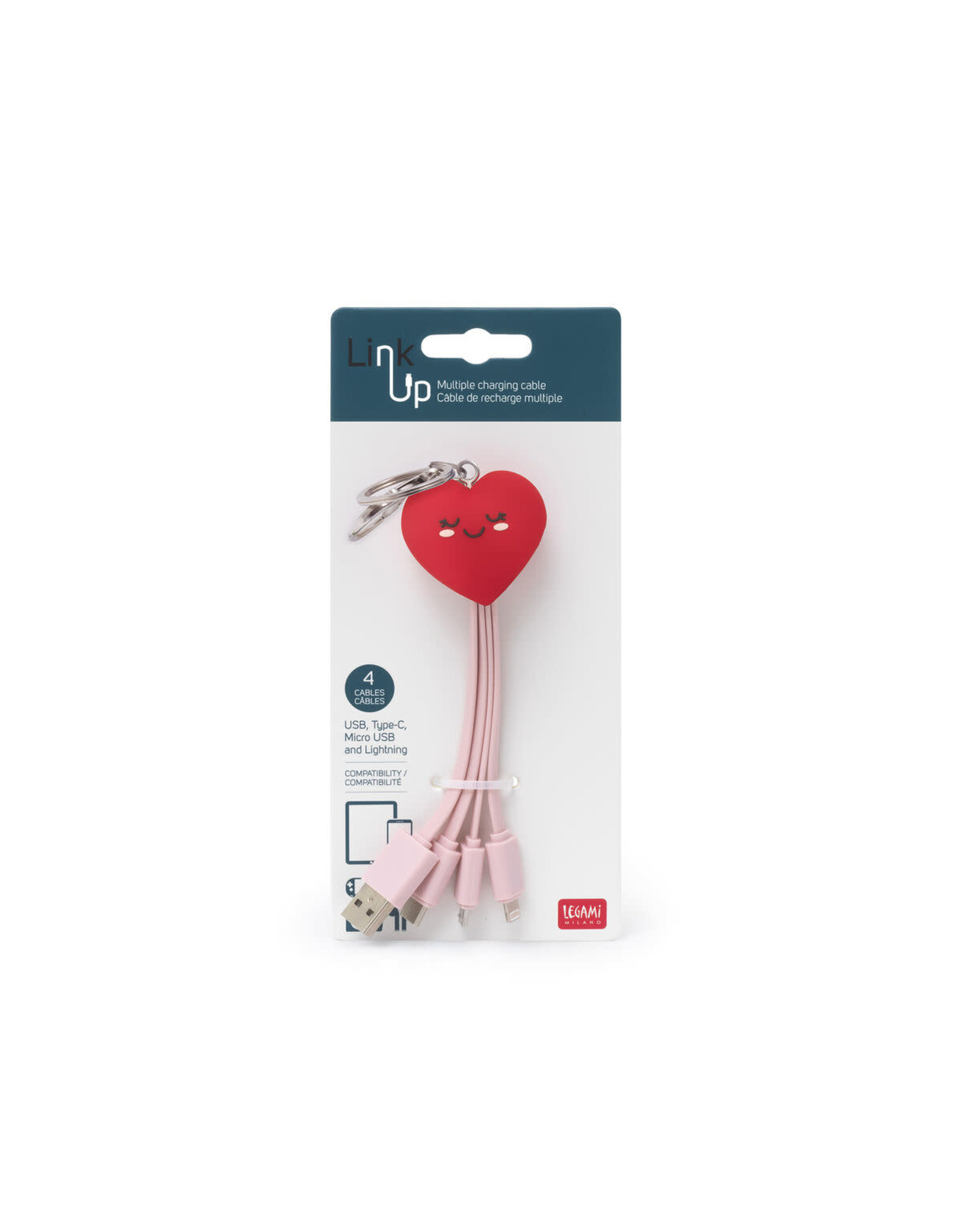 Legami multi charging cables - heart
