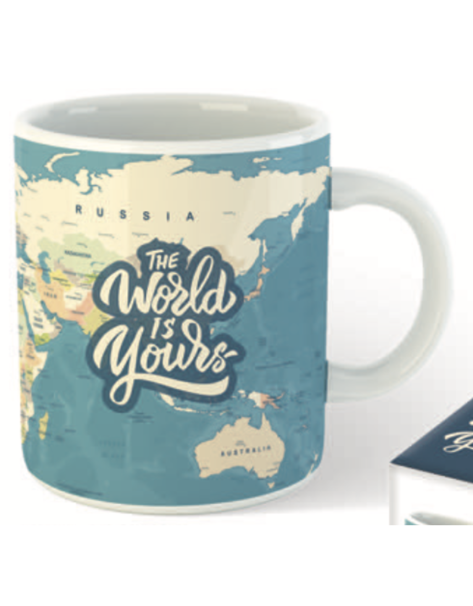 """mug with text """"the world is yours"""""""