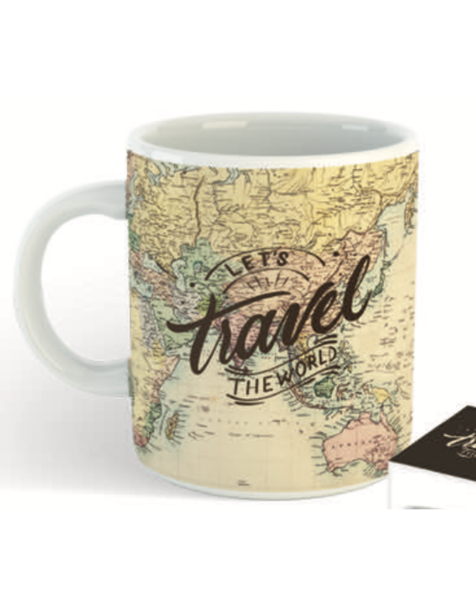 """mug with text """"let's travel the world"""""""