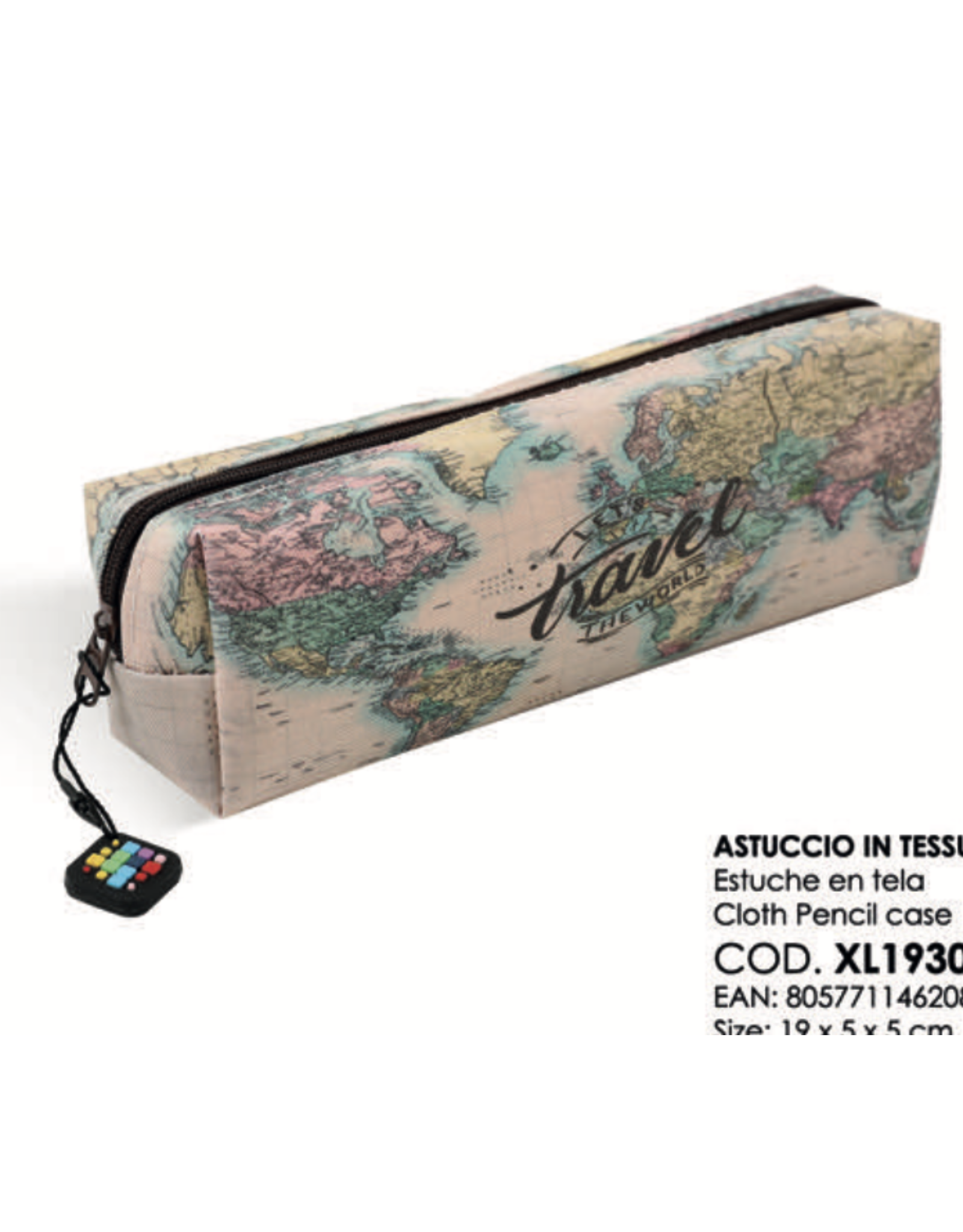 pencil case with world map print