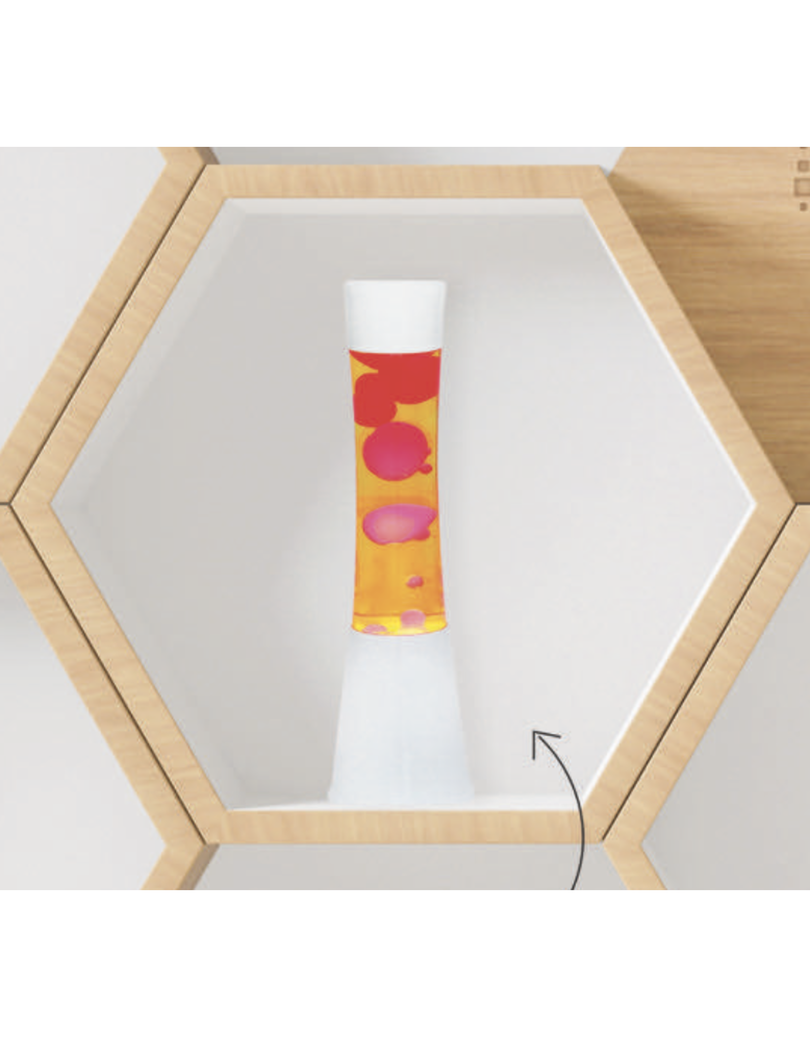 lava lamp with white base, pink lava and yellow fluid