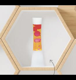 lava lamp - white base / pink lava / yellow fluid