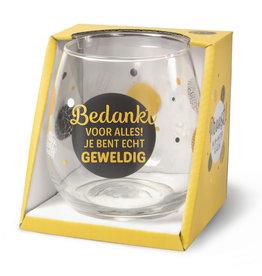 wijn-/waterglas  - bedankt