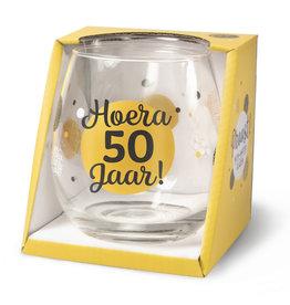 wijn-/waterglas - hoera 50 jaar