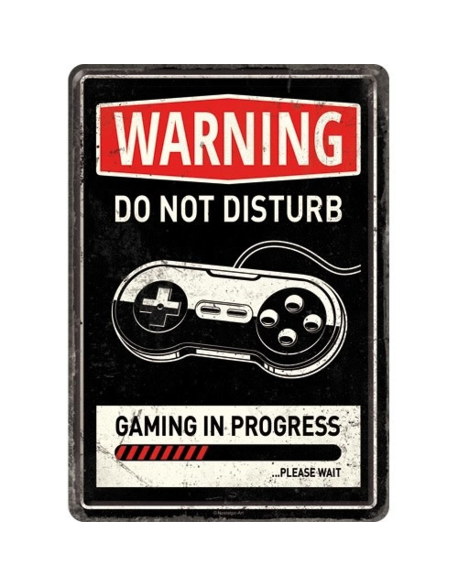 Nostalgic Art metal card - Warning gaming in progress