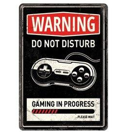 Nostalgic Art kaart - Warning gaming in progress