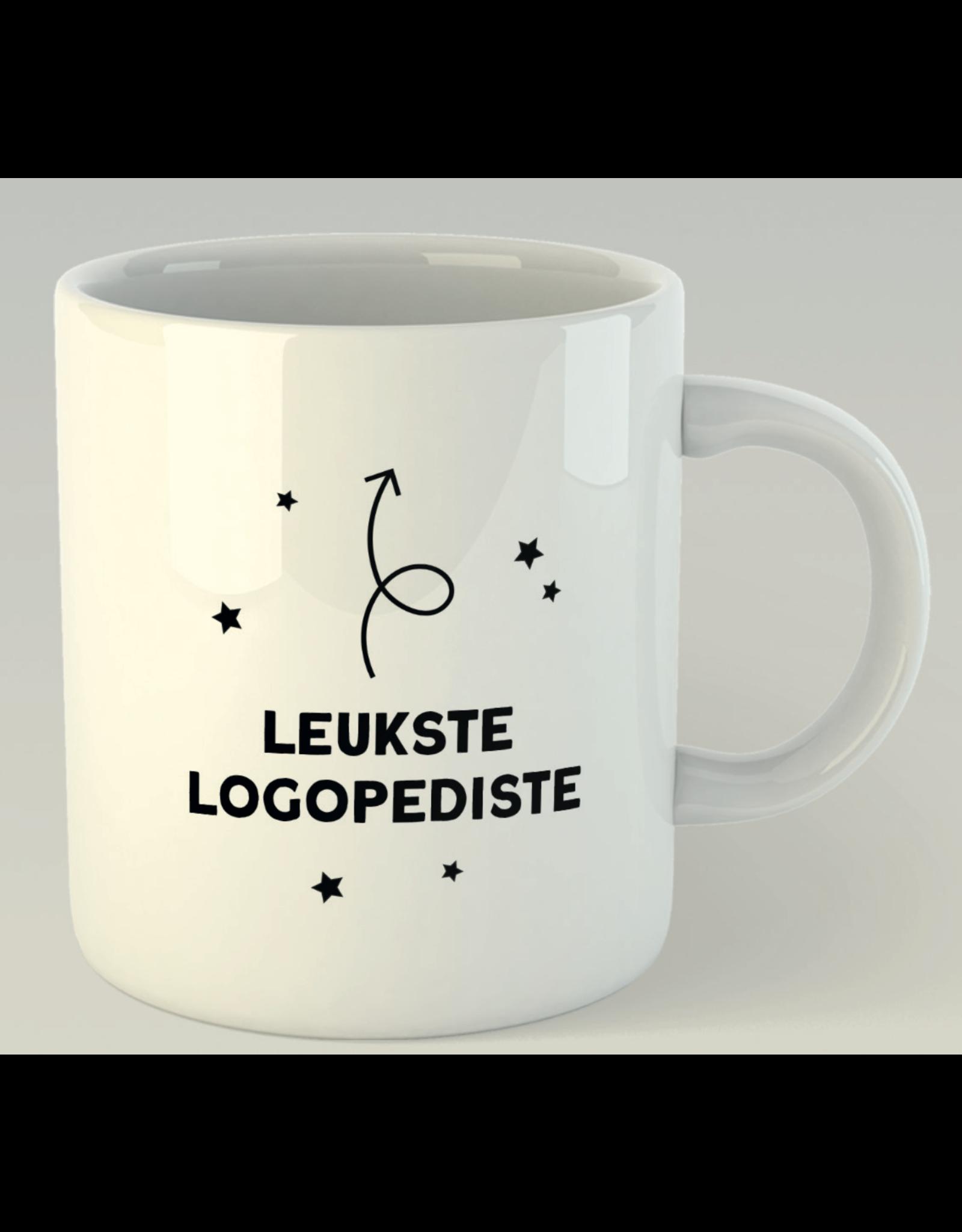 Jelly Jazz mug with text: leukste logopediste (dutch)