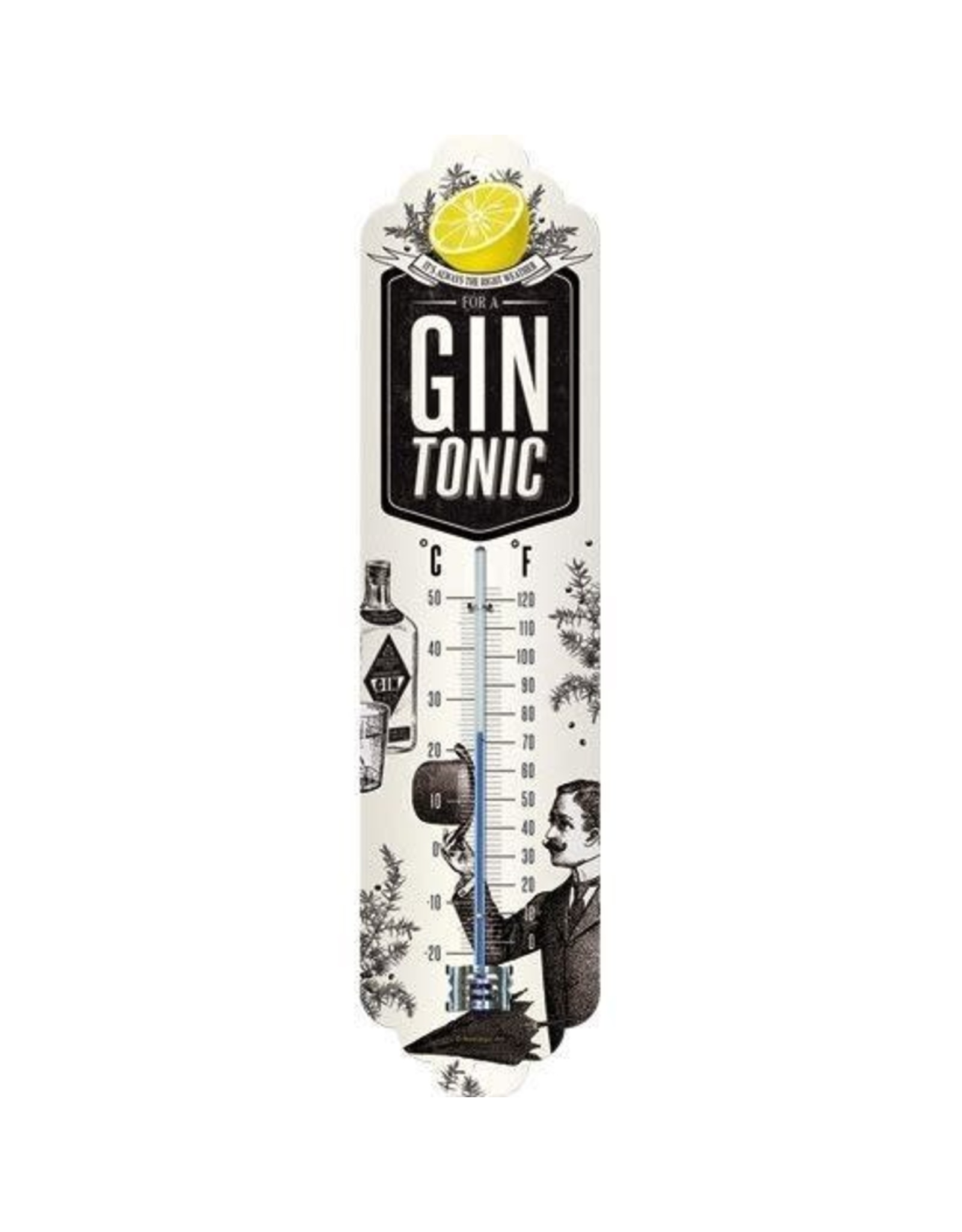Nostalgic Art thermometer with gin tonic design