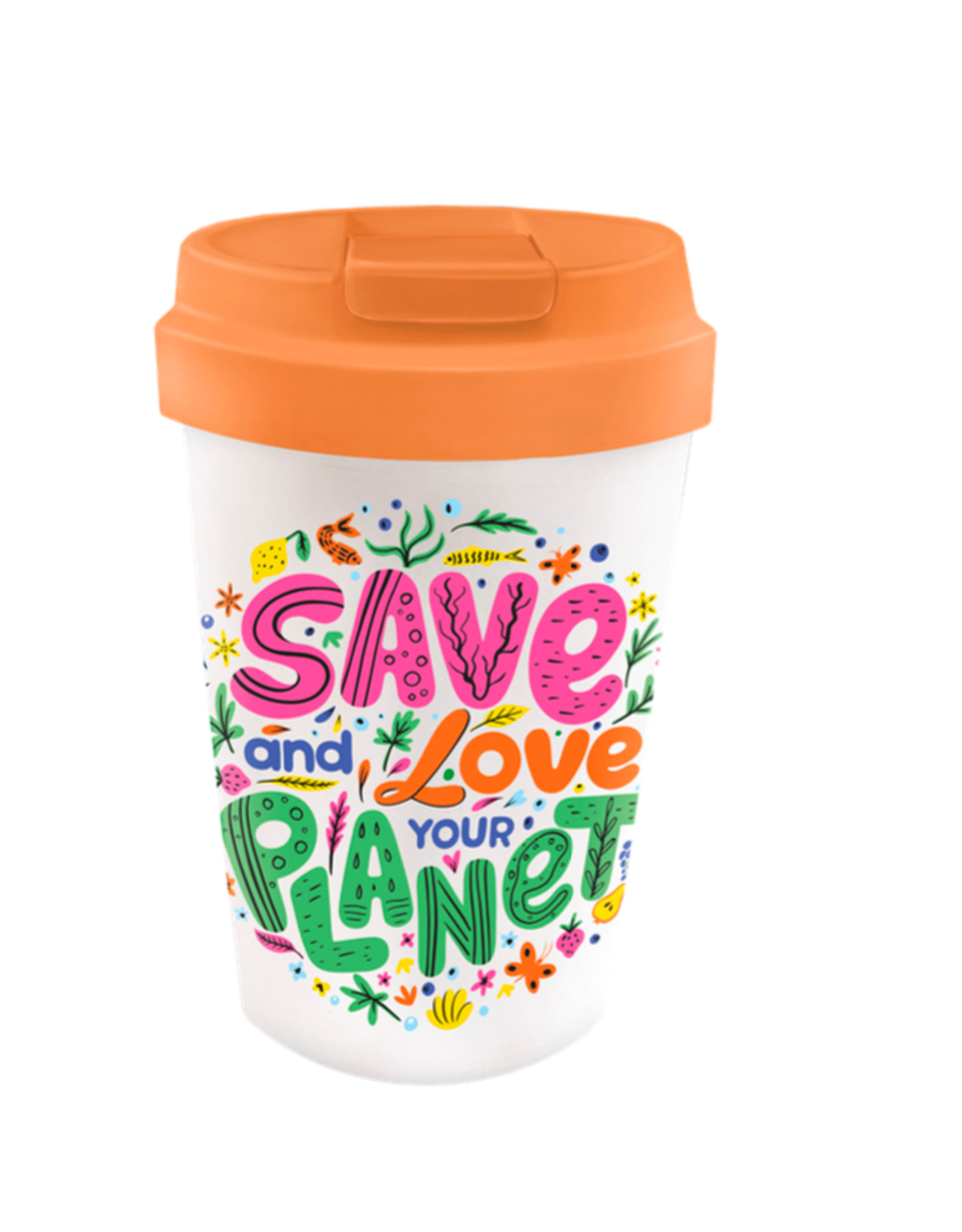 easy cup with text: save and love your planet