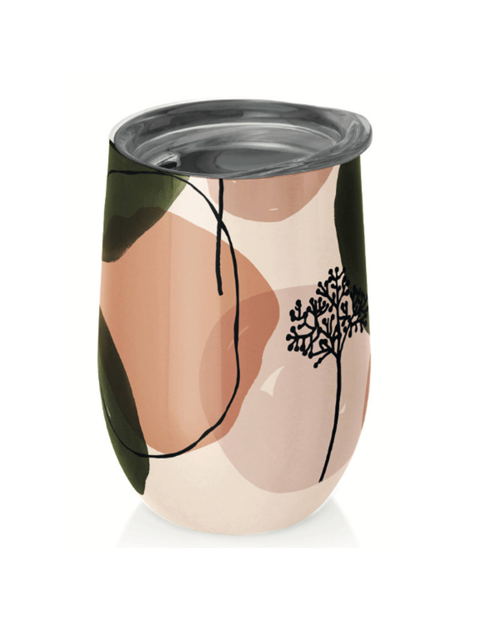 cup with abstract design (olive and peach)