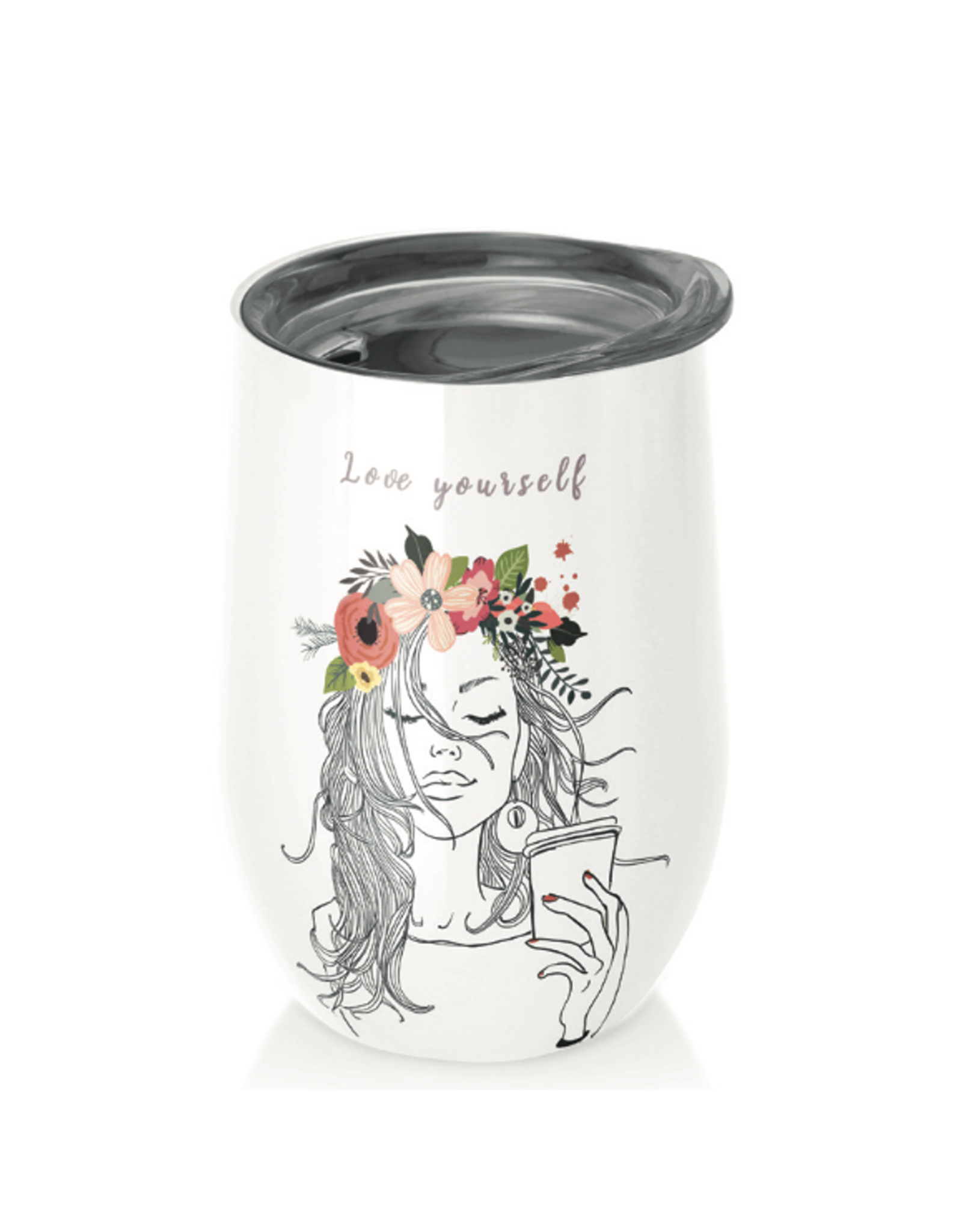 cup with flower girl