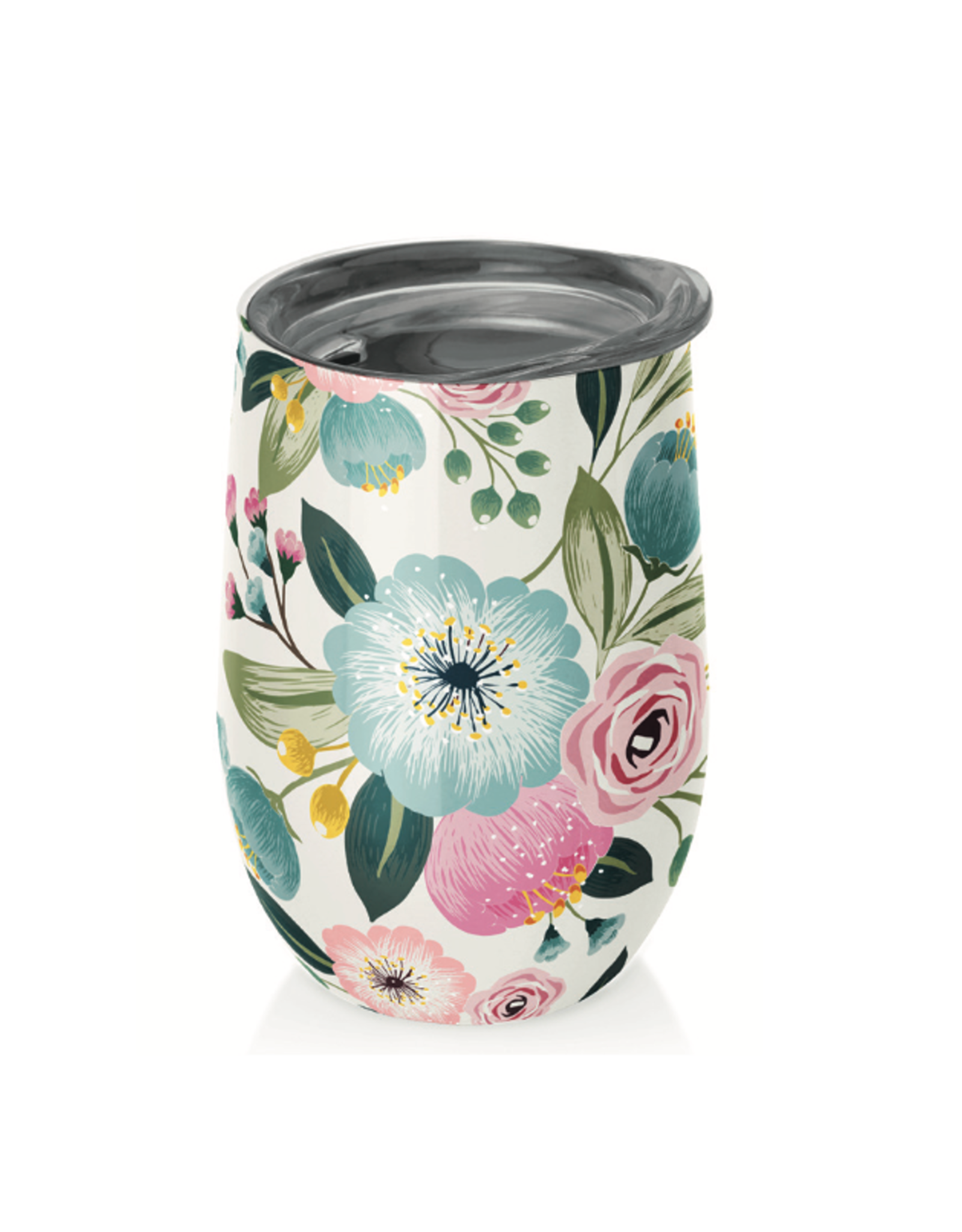cup with pastel flowers