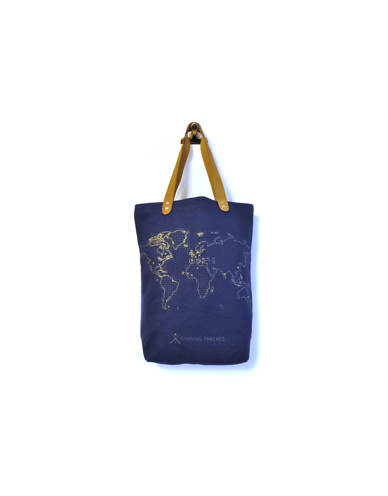 Chasing Threads tote bag with stitching pattern