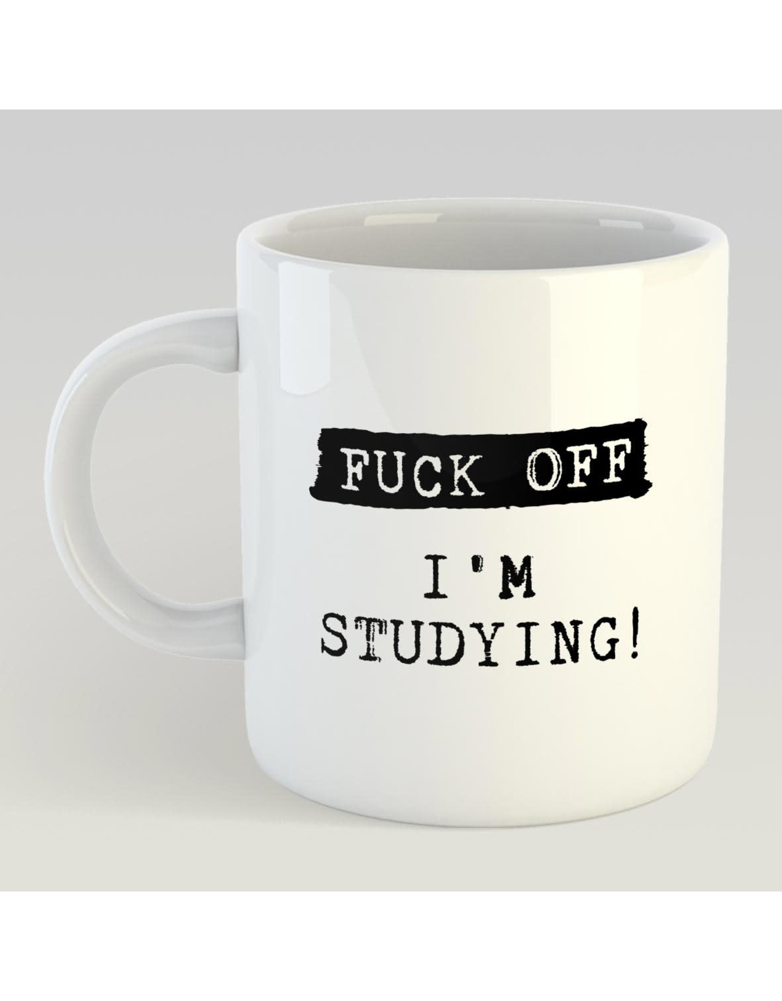 Jelly Jazz mug with text print - fuck off I'm  studying